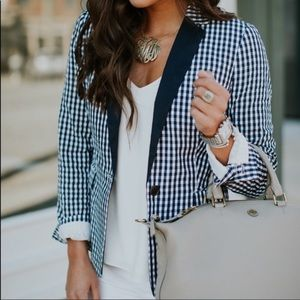 J. Crew blue and white gingham blazer